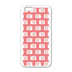 Modern Chic Vector Camera Illustration Pattern Apple Iphone 6 White Enamel Case by creativemom
