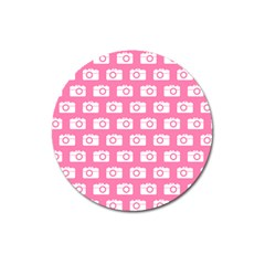 Pink Modern Chic Vector Camera Illustration Pattern Magnet 3  (round) by creativemom