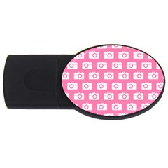 Pink Modern Chic Vector Camera Illustration Pattern Usb Flash Drive Oval (2 Gb)  by creativemom