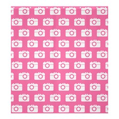 Pink Modern Chic Vector Camera Illustration Pattern Shower Curtain 66  X 72  (large)  by creativemom