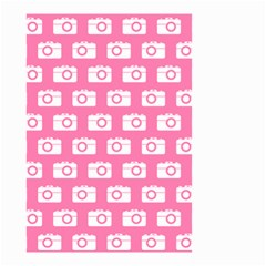 Pink Modern Chic Vector Camera Illustration Pattern Small Garden Flag (two Sides)