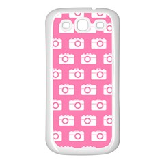 Pink Modern Chic Vector Camera Illustration Pattern Samsung Galaxy S3 Back Case (white) by creativemom