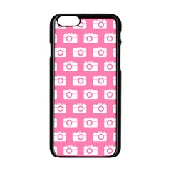 Pink Modern Chic Vector Camera Illustration Pattern Apple Iphone 6 Black Enamel Case