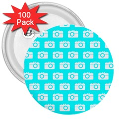 Modern Chic Vector Camera Illustration Pattern 3  Buttons (100 Pack)