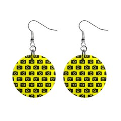 Modern Chic Vector Camera Illustration Pattern Mini Button Earrings