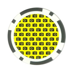 Modern Chic Vector Camera Illustration Pattern Poker Chip Card Guards by creativemom