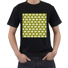 Modern Chic Vector Camera Illustration Pattern Men s T Shirt (black) (two Sided)