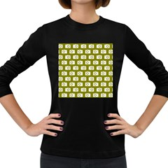 Modern Chic Vector Camera Illustration Pattern Women s Long Sleeve Dark T-shirts by creativemom