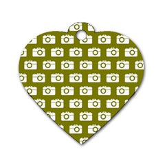 Modern Chic Vector Camera Illustration Pattern Dog Tag Heart (one Side)