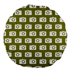 Modern Chic Vector Camera Illustration Pattern Large 18  Premium Round Cushions by creativemom