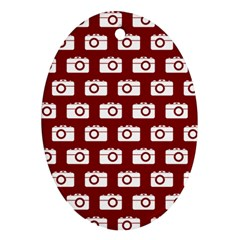 Modern Chic Vector Camera Illustration Pattern Oval Ornament (two Sides)