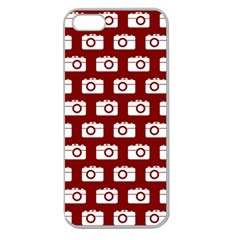 Modern Chic Vector Camera Illustration Pattern Apple Seamless Iphone 5 Case (clear) by creativemom