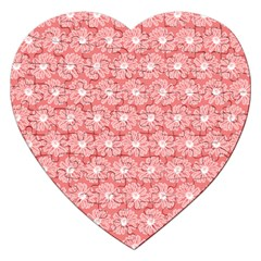 Coral Pink Gerbera Daisy Vector Tile Pattern Jigsaw Puzzle (heart)