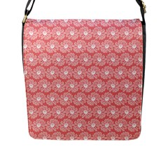 Coral Pink Gerbera Daisy Vector Tile Pattern Flap Messenger Bag (l)  by creativemom