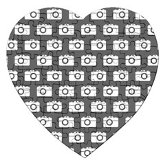 Modern Chic Vector Camera Illustration Pattern Jigsaw Puzzle (heart)
