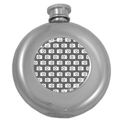 Modern Chic Vector Camera Illustration Pattern Round Hip Flask (5 Oz) by creativemom