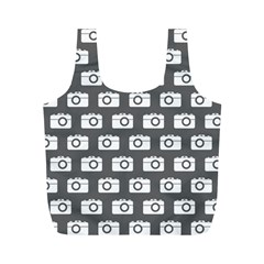 Modern Chic Vector Camera Illustration Pattern Full Print Recycle Bags (m)  by creativemom
