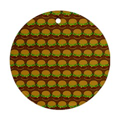 Burger Snadwich Food Tile Pattern Round Ornament (two Sides)