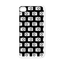 Modern Chic Vector Camera Illustration Pattern Apple Iphone 4 Case (white) by creativemom