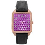 Gerbera Daisy Vector Tile Pattern Rose Gold Watches Front
