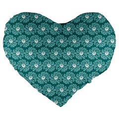 Gerbera Daisy Vector Tile Pattern Large 19  Premium Flano Heart Shape Cushions