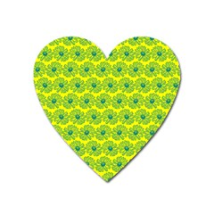 Gerbera Daisy Vector Tile Pattern Heart Magnet by creativemom
