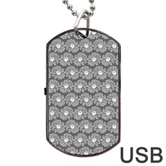Gerbera Daisy Vector Tile Pattern Dog Tag Usb Flash (one Side) by creativemom