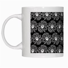Black And White Gerbera Daisy Vector Tile Pattern White Mugs by creativemom