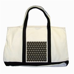 Black And White Gerbera Daisy Vector Tile Pattern Two Tone Tote Bag