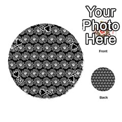 Black And White Gerbera Daisy Vector Tile Pattern Playing Cards 54 (round)