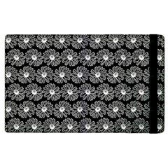 Black And White Gerbera Daisy Vector Tile Pattern Apple Ipad 2 Flip Case by creativemom