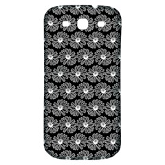 Black And White Gerbera Daisy Vector Tile Pattern Samsung Galaxy S3 S Iii Classic Hardshell Back Case by creativemom