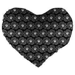 Black And White Gerbera Daisy Vector Tile Pattern Large 19  Premium Heart Shape Cushions