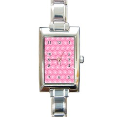 Pink Gerbera Daisy Vector Tile Pattern Rectangle Italian Charm Watches