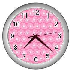 Pink Gerbera Daisy Vector Tile Pattern Wall Clocks (silver)  by creativemom