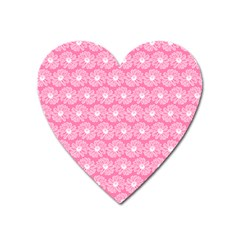 Pink Gerbera Daisy Vector Tile Pattern Heart Magnet by creativemom