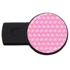 Pink Gerbera Daisy Vector Tile Pattern Usb Flash Drive Round (4 Gb)  by creativemom