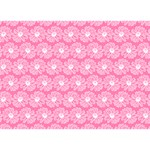 Pink Gerbera Daisy Vector Tile Pattern Ribbon 3D Greeting Card (7x5)  Front