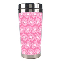 Pink Gerbera Daisy Vector Tile Pattern Stainless Steel Travel Tumblers