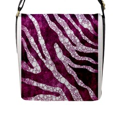 Purple Zebra Print Bling Pattern  Flap Messenger Bag (l)  by OCDesignss