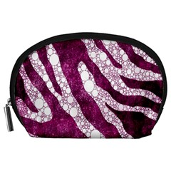 Purple Zebra Print Bling Pattern  Accessory Pouches (large)  by OCDesignss