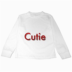 Cutie Red Lettering  Kids Long Sleeve T Shirts by OCDesignss