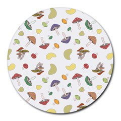 Mushrooms Pattern Round Mousepads by Famous