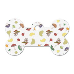 Mushrooms Pattern Dog Tag Bone (one Side) by Famous