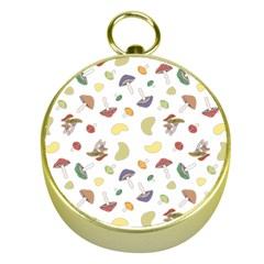 Mushrooms Pattern Gold Compasses by Famous