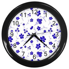 Sweet Shiny Flora Blue Wall Clocks (black) by ImpressiveMoments