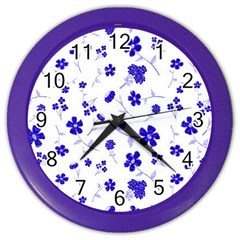 Sweet Shiny Flora Blue Color Wall Clocks by ImpressiveMoments