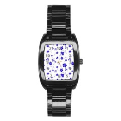 Sweet Shiny Flora Blue Stainless Steel Barrel Watch by ImpressiveMoments