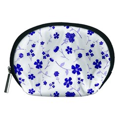 Sweet Shiny Flora Blue Accessory Pouches (medium)