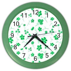 Sweet Shiny Floral Green Color Wall Clocks by ImpressiveMoments